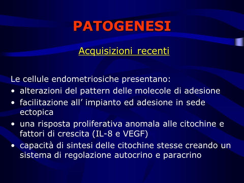 PATOGENESI Acquisizioni recenti Le cellule endometriosiche presentano: alterazioni del pattern delle molecole di adesione facilitazione all impianto e