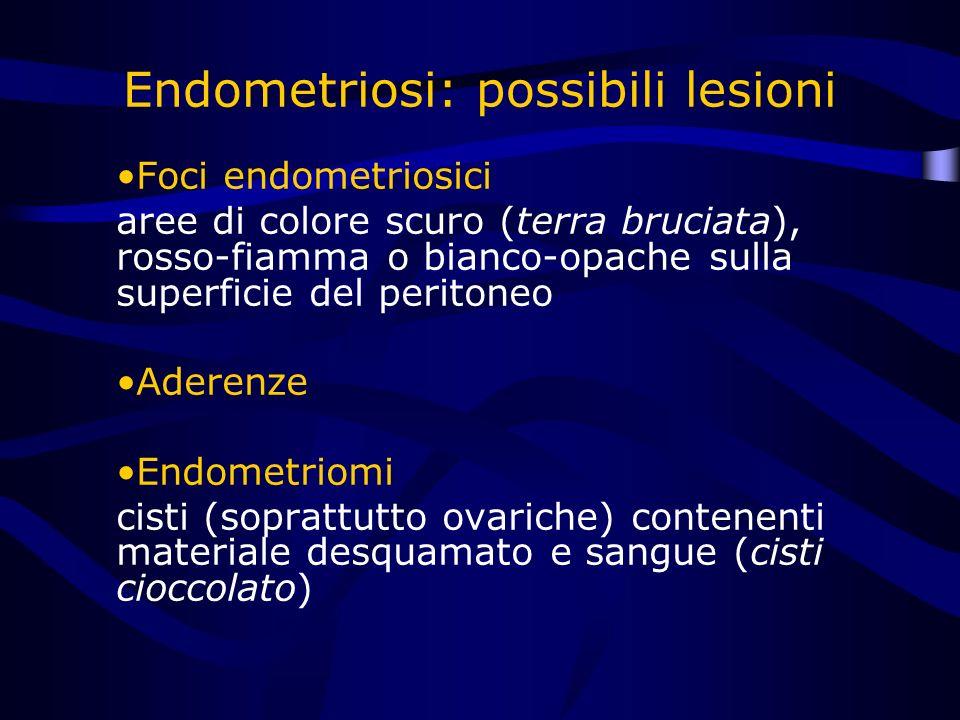Endometriosi: possibili lesioni Foci endometriosici aree di colore scuro (terra bruciata), rosso-fiamma o bianco-opache sulla superficie del peritoneo