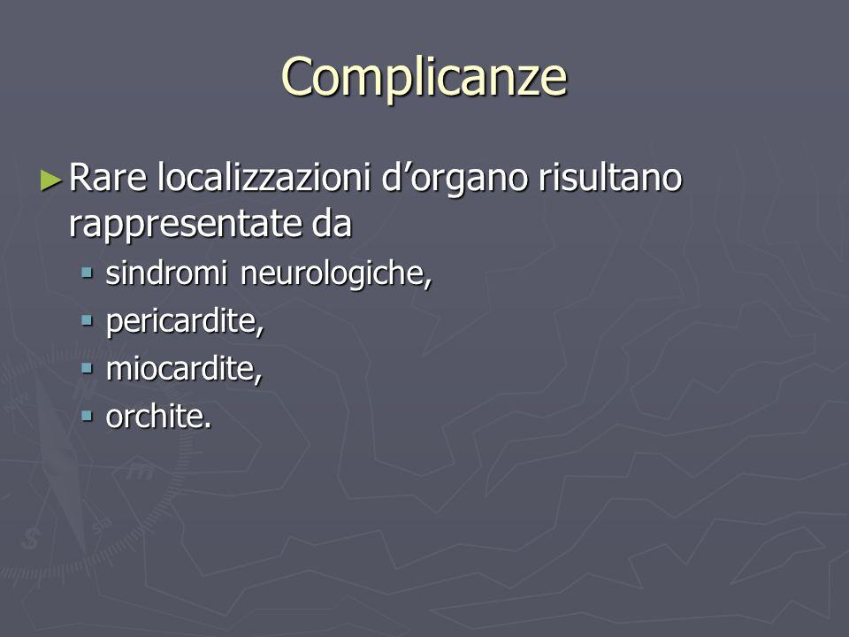 Complicanze Rare localizzazioni dorgano risultano rappresentate da Rare localizzazioni dorgano risultano rappresentate da sindromi neurologiche, sindr