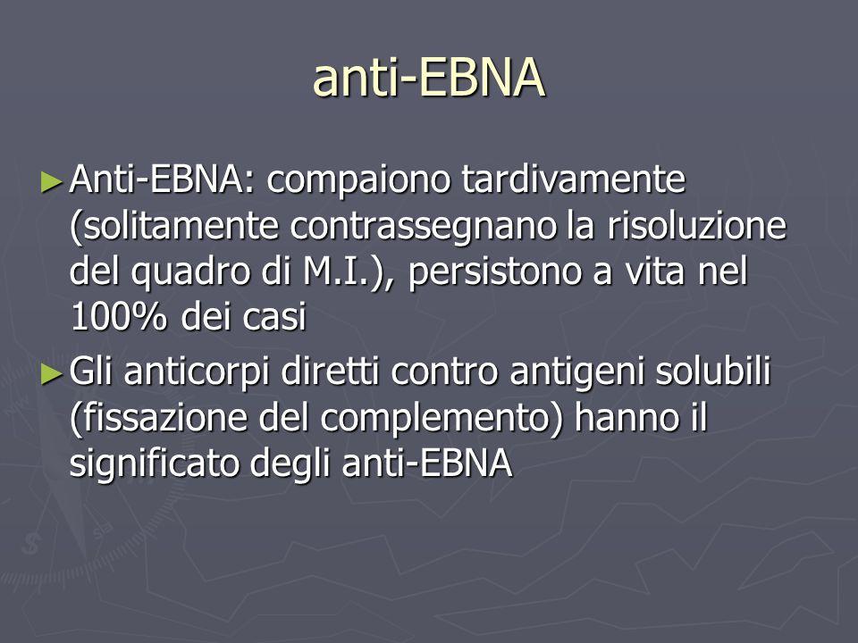 anti-EBNA Anti-EBNA: compaiono tardivamente (solitamente contrassegnano la risoluzione del quadro di M.I.), persistono a vita nel 100% dei casi Anti-E