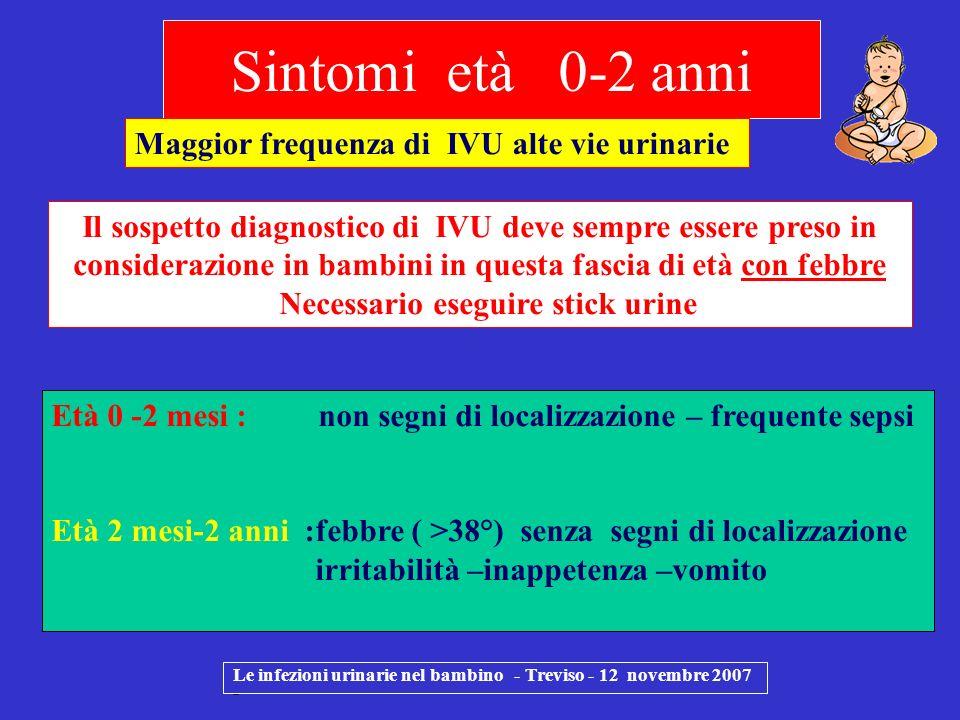 Sintomi età 0-2 anni Le infezioni urinarie nel bambino - Treviso - 12 novembre 2007 - Età 0 -2 mesi : non segni di localizzazione – frequente sepsi Et