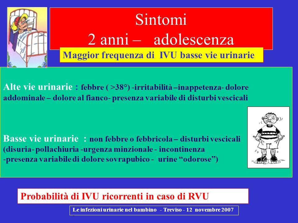 Le infezioni urinarie nel bambino - Treviso - 12 novembre 2007 - Alte vie urinarie : febbre ( >38°) -irritabilità –inappetenza- dolore addominale – do