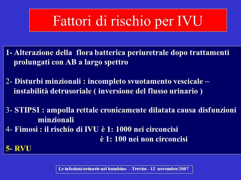Fattori di rischio per IVU Le infezioni urinarie nel bambino - Treviso - 12 novembre 2007 - 1- Alterazione della flora batterica periuretrale dopo tra