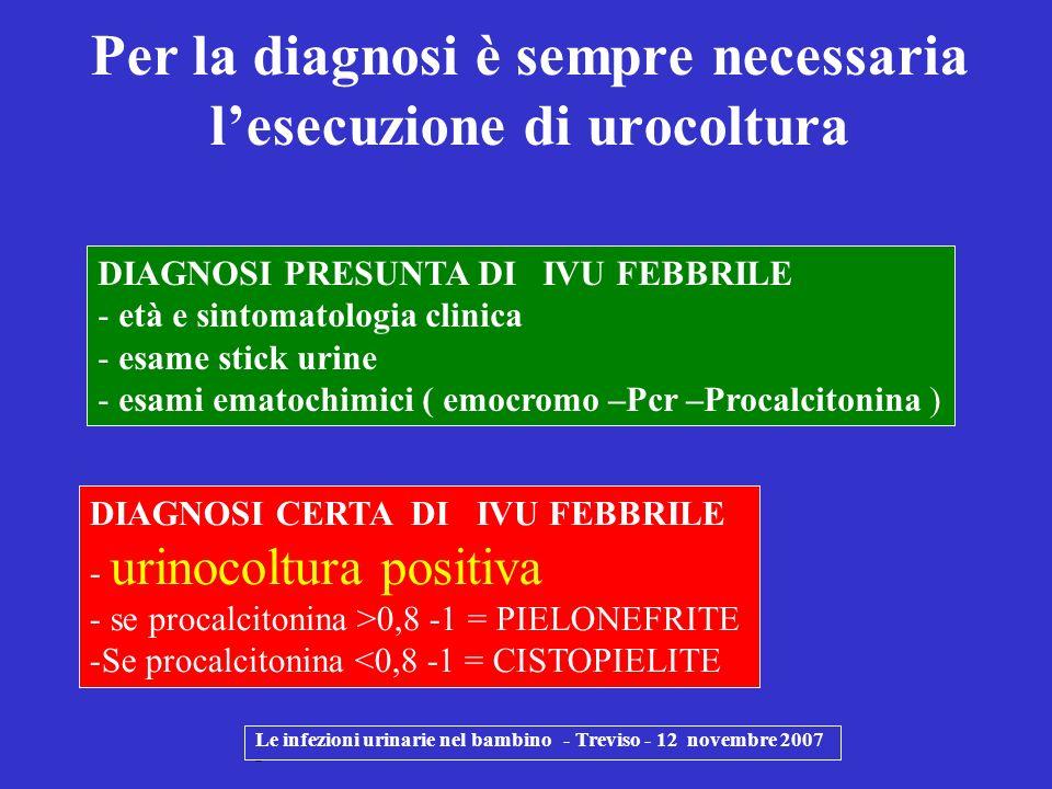 Le infezioni urinarie nel bambino - Treviso - 12 novembre 2007 - DIAGNOSI PRESUNTA DI IVU FEBBRILE - età e sintomatologia clinica - esame stick urine