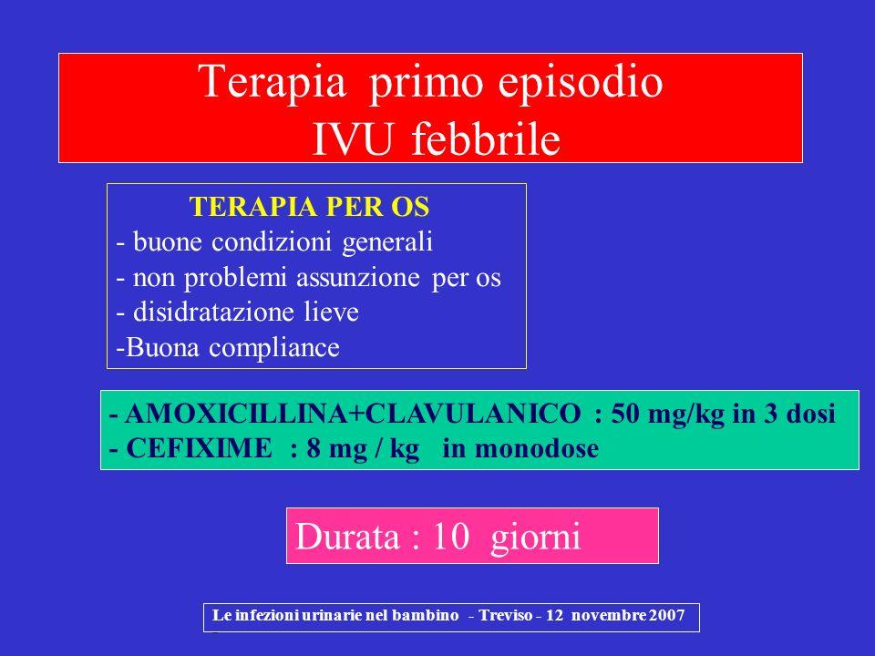 Le infezioni urinarie nel bambino - Treviso - 12 novembre 2007 - Terapia primo episodio IVU febbrile TERAPIA PER OS - buone condizioni generali - non