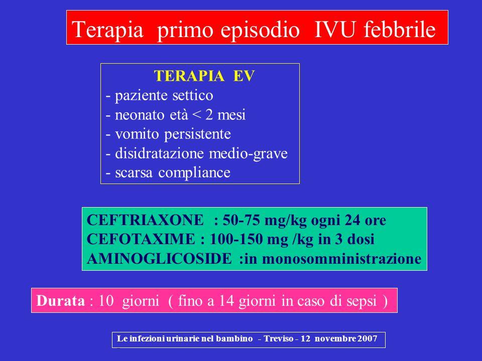 Le infezioni urinarie nel bambino - Treviso - 12 novembre 2007 - Terapia primo episodio IVU febbrile Durata : 10 giorni ( fino a 14 giorni in caso di