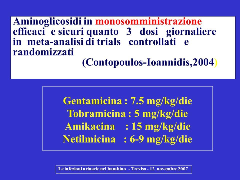 Le infezioni urinarie nel bambino - Treviso - 12 novembre 2007 - Aminoglicosidi in monosomministrazione efficaci e sicuri quanto 3 dosi giornaliere in