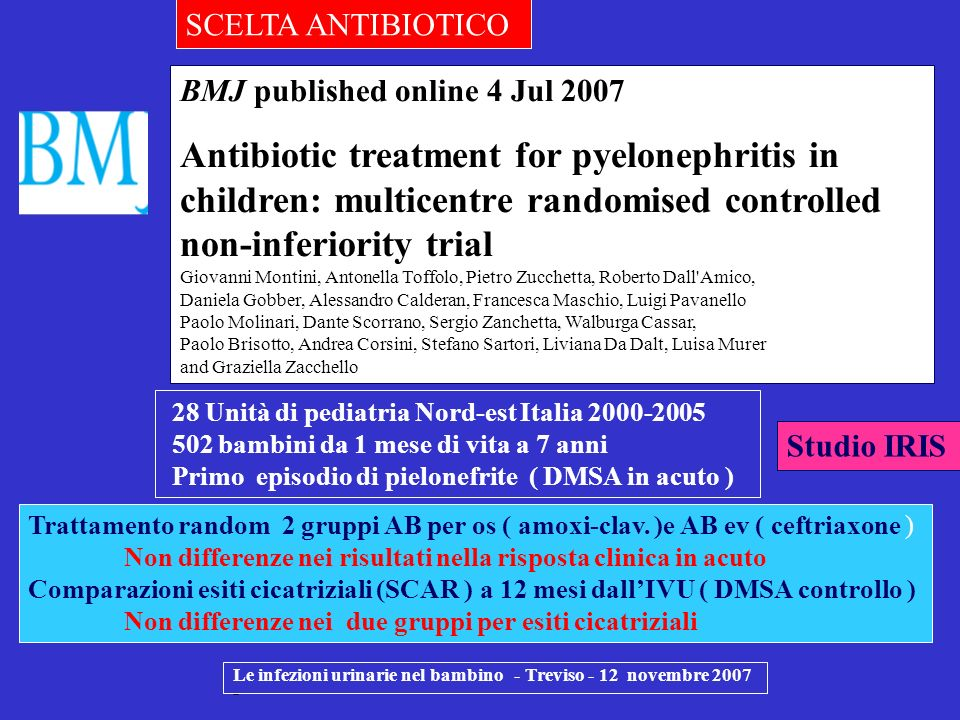 Le infezioni urinarie nel bambino - Treviso - 12 novembre 2007 - BMJ published online 4 Jul 2007 Antibiotic treatment for pyelonephritis in children: