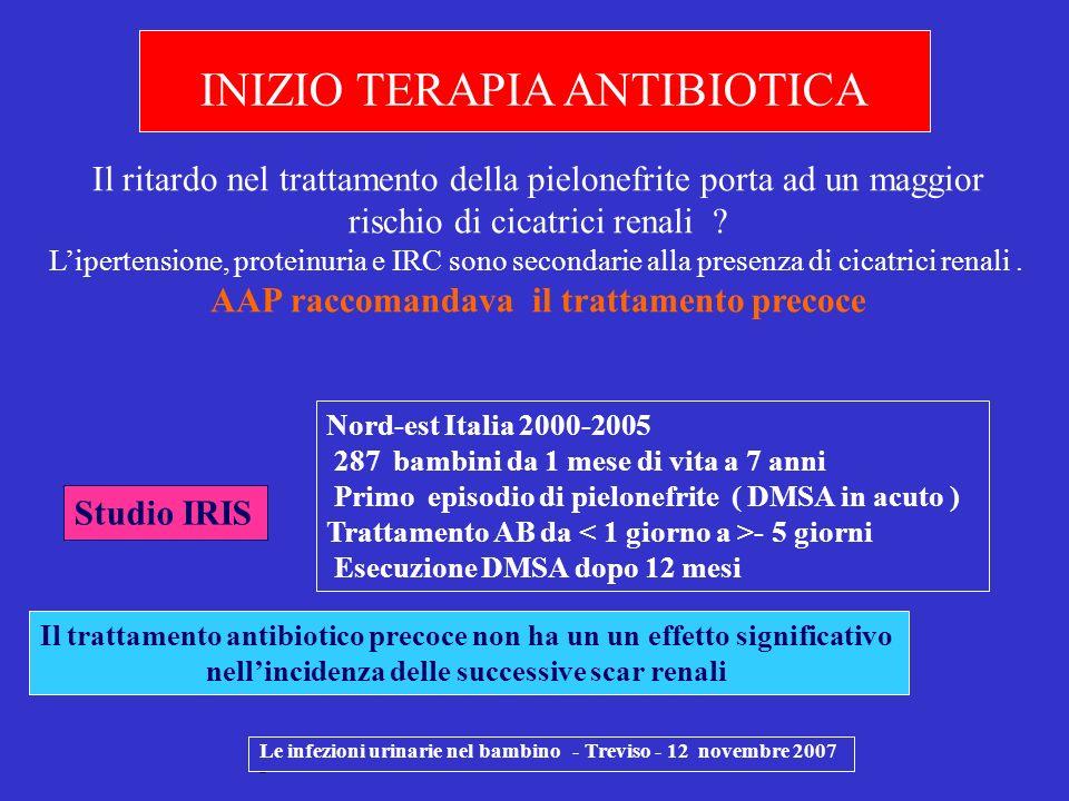 Le infezioni urinarie nel bambino - Treviso - 12 novembre 2007 - Nord-est Italia 2000-2005 287 bambini da 1 mese di vita a 7 anni Primo episodio di pi