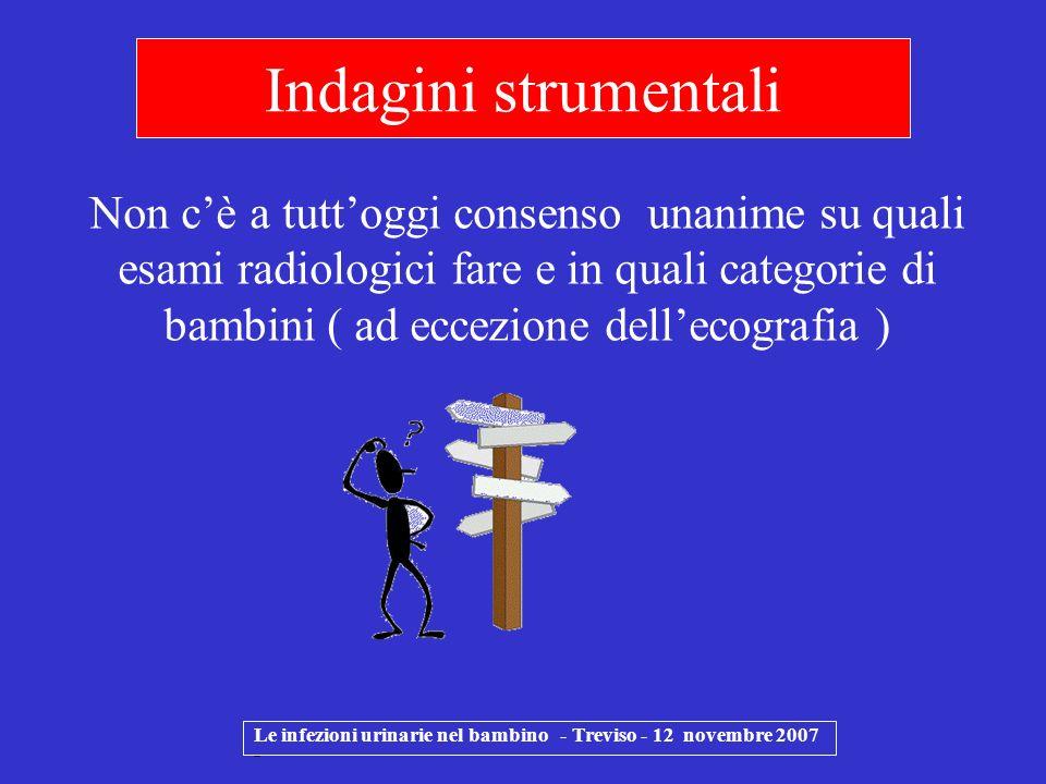 Le infezioni urinarie nel bambino - Treviso - 12 novembre 2007 - Indagini strumentali Non cè a tuttoggi consenso unanime su quali esami radiologici fa