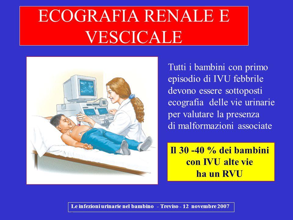 Le infezioni urinarie nel bambino - Treviso - 12 novembre 2007 - ECOGRAFIA RENALE E VESCICALE Tutti i bambini con primo episodio di IVU febbrile devon