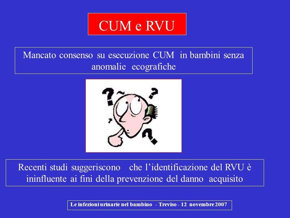 Le infezioni urinarie nel bambino - Treviso - 12 novembre 2007 - CUM e RVU Mancato consenso su esecuzione CUM in bambini senza anomalie ecografiche Re
