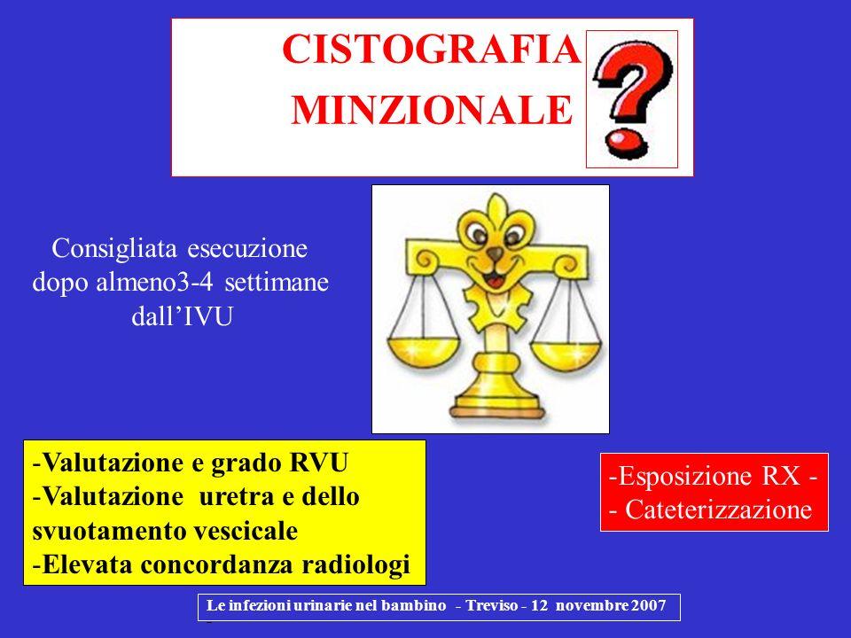 CISTOGRAFIA MINZIONALE Le infezioni urinarie nel bambino - Treviso - 12 novembre 2007 - -Valutazione e grado RVU -Valutazione uretra e dello svuotamen