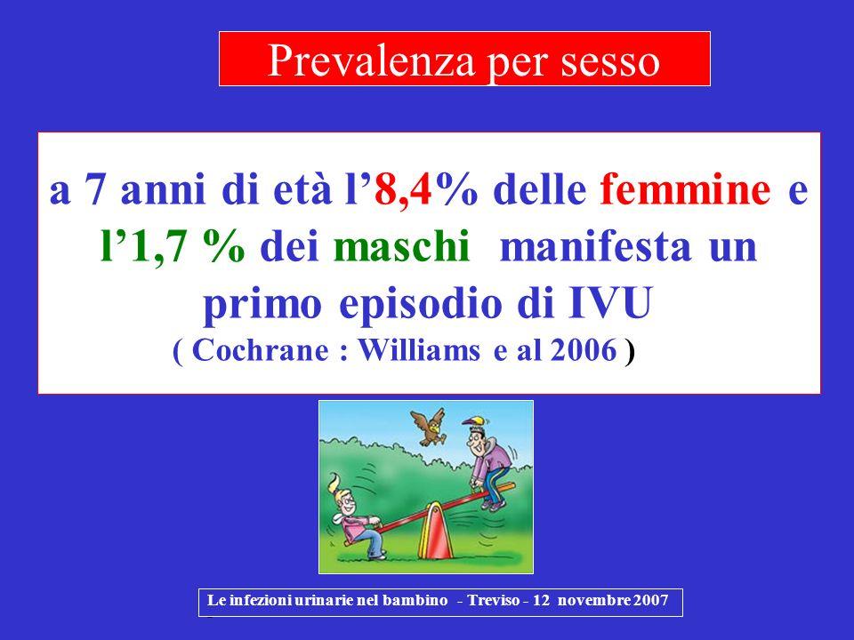 a 7 anni di età l8,4% delle femmine e l1,7 % dei maschi manifesta un primo episodio di IVU ( Cochrane : Williams e al 2006 ) Le infezioni urinarie nel