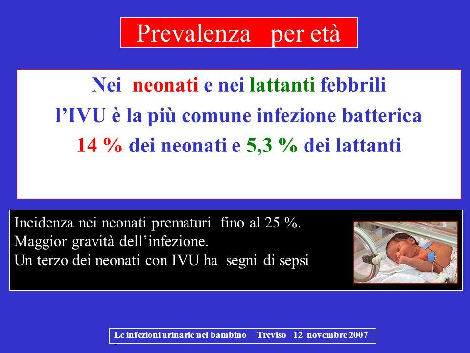 Nei neonati e nei lattanti febbrili lIVU è la più comune infezione batterica 14 % dei neonati e 5,3 % dei lattanti Le infezioni urinarie nel bambino -