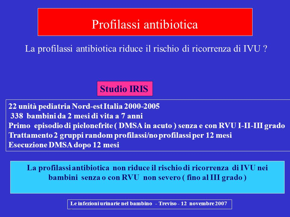 Le infezioni urinarie nel bambino - Treviso - 12 novembre 2007 - 22 unità pediatria Nord-est Italia 2000-2005 338 bambini da 2 mesi di vita a 7 anni P