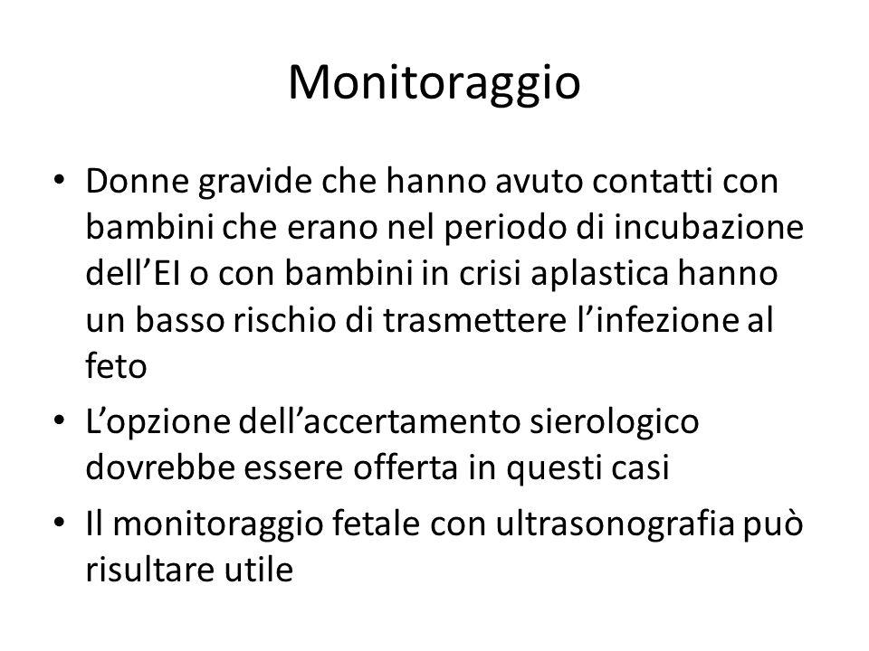 Monitoraggio Donne gravide che hanno avuto contatti con bambini che erano nel periodo di incubazione dellEI o con bambini in crisi aplastica hanno un