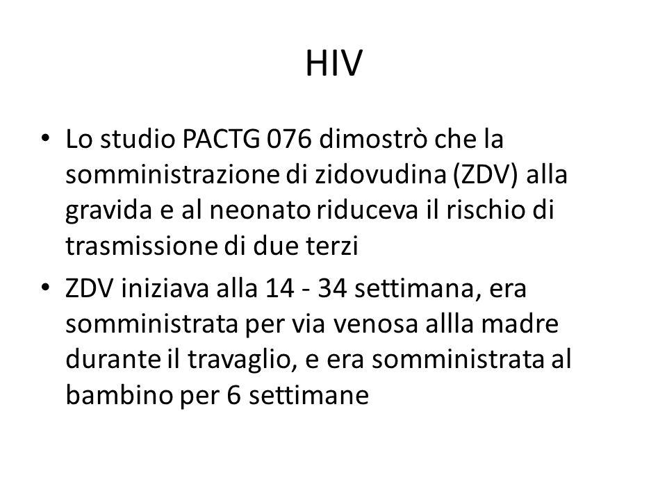 HIV Lo studio PACTG 076 dimostrò che la somministrazione di zidovudina (ZDV) alla gravida e al neonato riduceva il rischio di trasmissione di due terz
