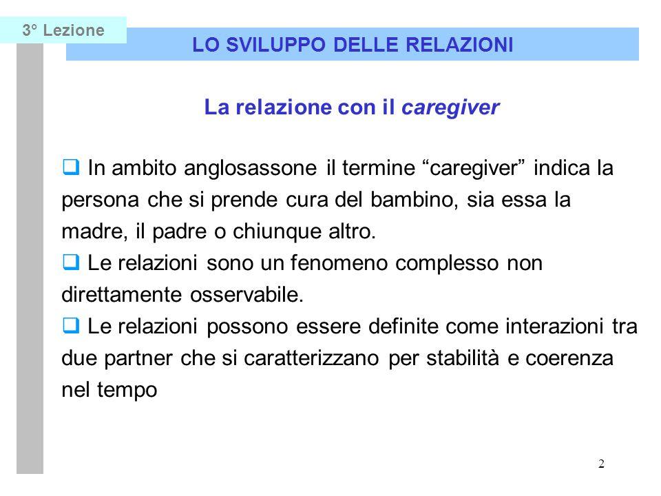 2 LO SVILUPPO DELLE RELAZIONI 3° Lezione La relazione con il caregiver In ambito anglosassone il termine caregiver indica la persona che si prende cur