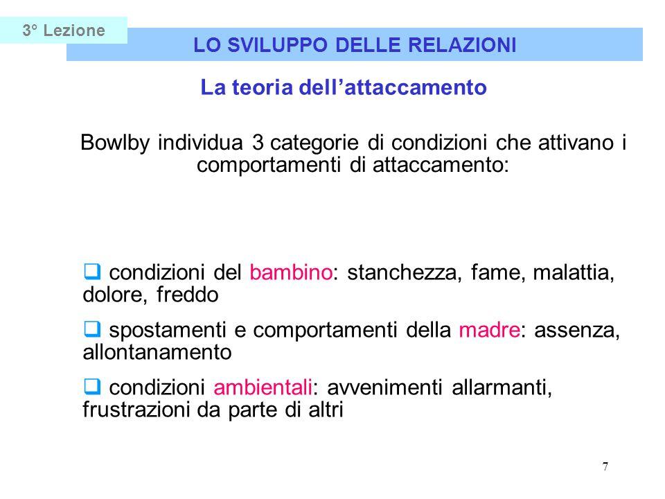 7 LO SVILUPPO DELLE RELAZIONI 3° Lezione La teoria dellattaccamento Bowlby individua 3 categorie di condizioni che attivano i comportamenti di attacca