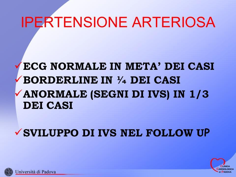 IPERTENSIONE ARTERIOSA ECG NORMALE IN META DEI CASI BORDERLINE IN ¼ DEI CASI ANORMALE (SEGNI DI IVS) IN 1/3 DEI CASI SVILUPPO DI IVS NEL FOLLOW U P