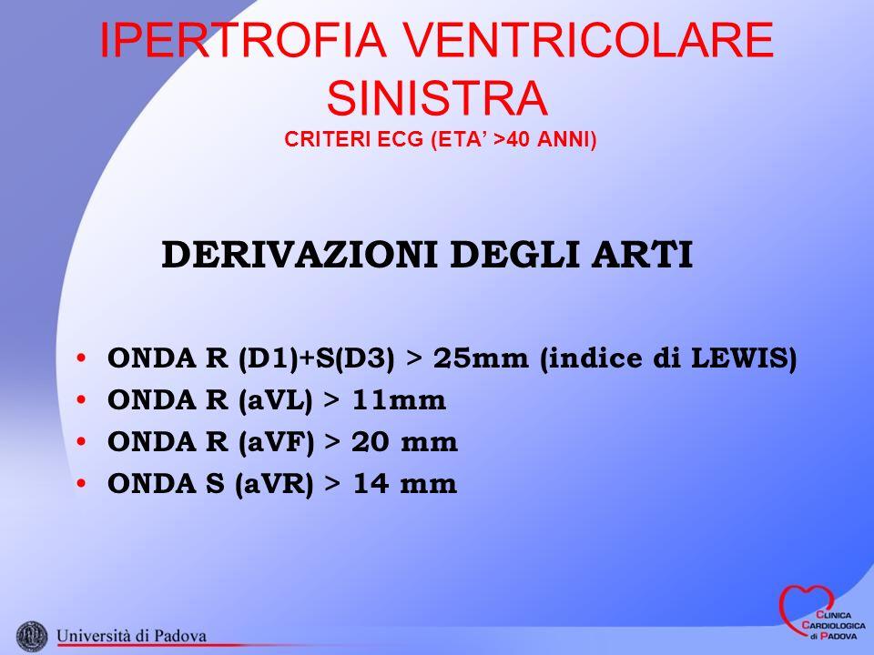 IPERTROFIA VENTRICOLARE SINISTRA CRITERI ECG (ETA >40 ANNI) DERIVAZIONI DEGLI ARTI ONDA R (D1)+S(D3) > 25mm (indice di LEWIS) ONDA R (aVL) > 11mm ONDA