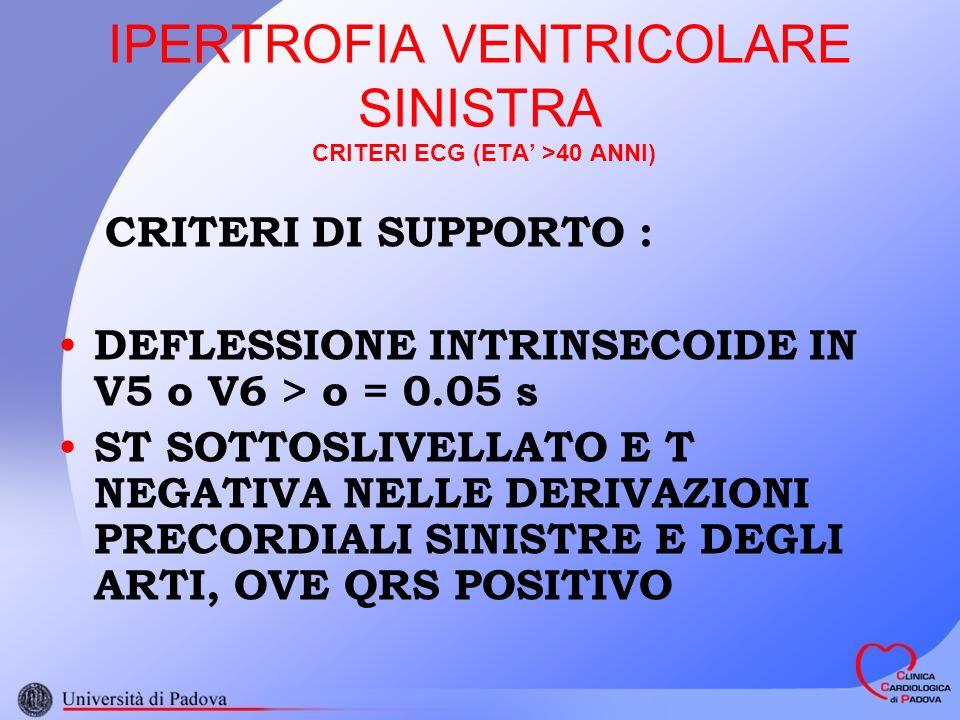 IPERTROFIA VENTRICOLARE SINISTRA CRITERI ECG (ETA >40 ANNI) CRITERI DI SUPPORTO : DEFLESSIONE INTRINSECOIDE IN V5 o V6 > o = 0.05 s ST SOTTOSLIVELLATO