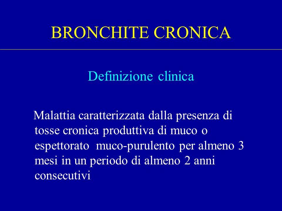 BRONCHITE CRONICA Definizione clinica Malattia caratterizzata dalla presenza di tosse cronica produttiva di muco o espettorato muco-purulento per alme