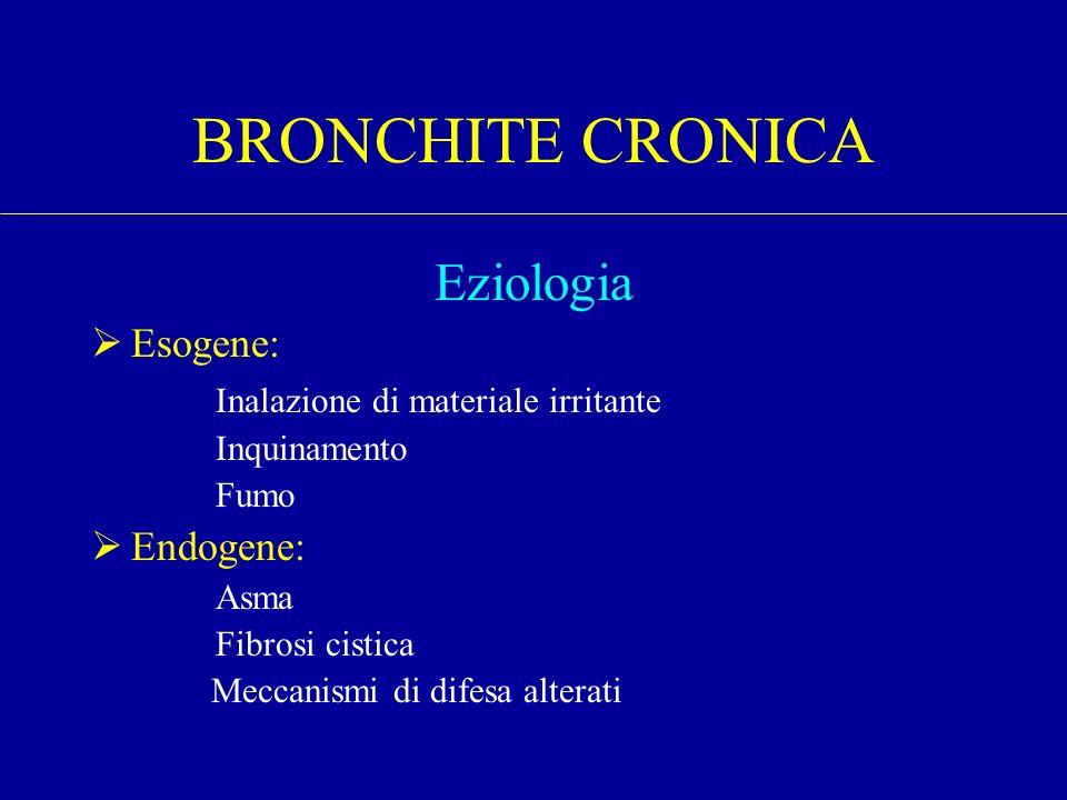 Eziologia Esogene: Inalazione di materiale irritante Inquinamento Fumo Endogene: Asma Fibrosi cistica Meccanismi di difesa alterati BRONCHITE CRONICA