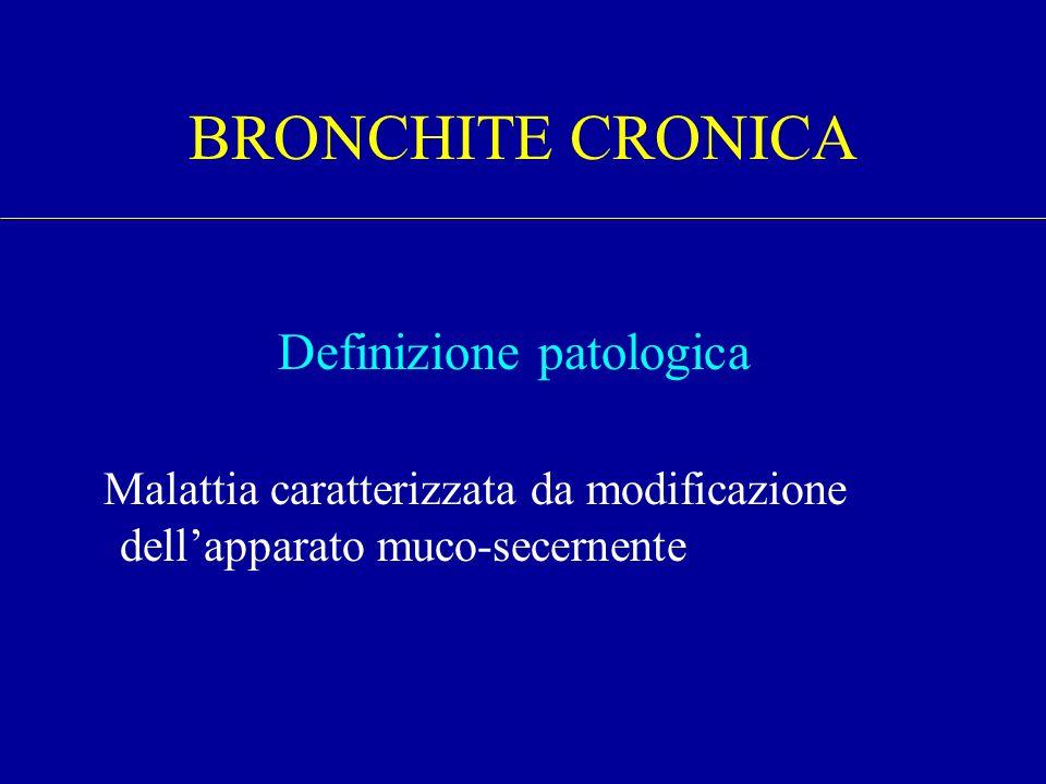Definizione patologica Malattia caratterizzata da modificazione dellapparato muco-secernente BRONCHITE CRONICA