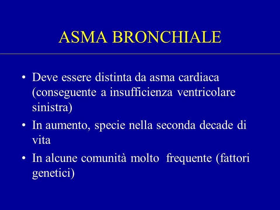 ASMA BRONCHIALE Deve essere distinta da asma cardiaca (conseguente a insufficienza ventricolare sinistra) In aumento, specie nella seconda decade di v