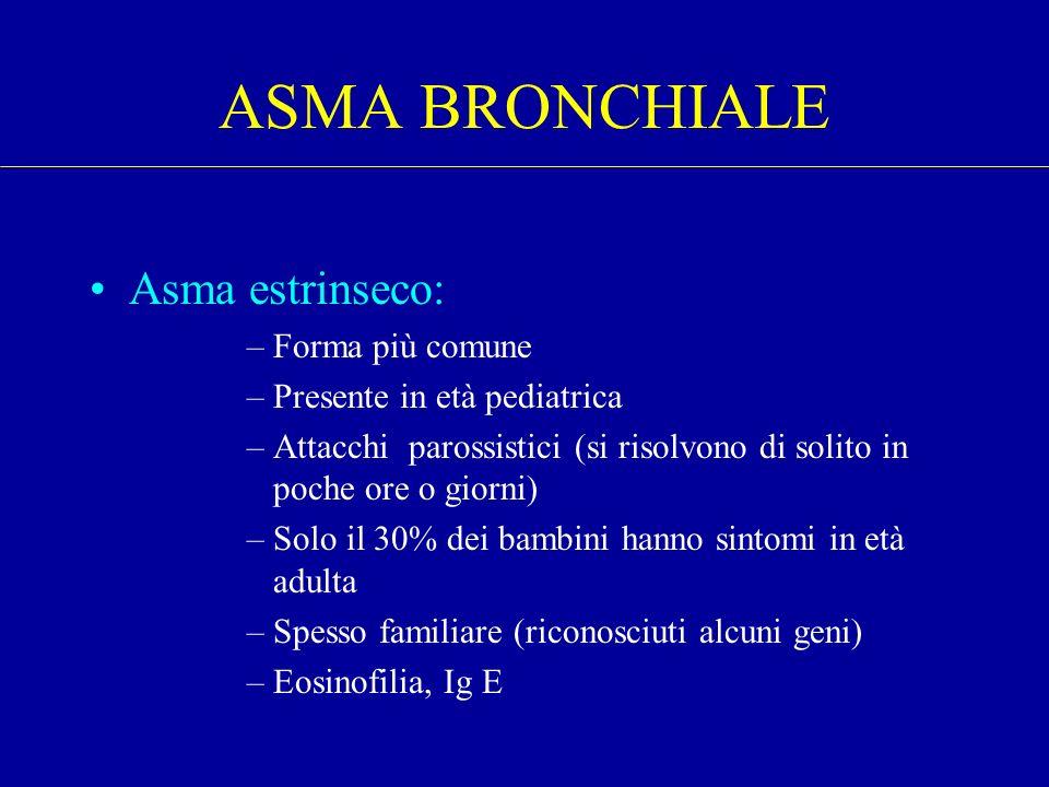 Asma estrinseco: –Forma più comune –Presente in età pediatrica –Attacchi parossistici (si risolvono di solito in poche ore o giorni) –Solo il 30% dei