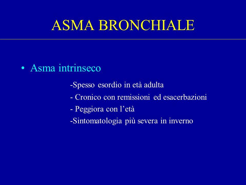 Asma intrinseco -Spesso esordio in età adulta - Cronico con remissioni ed esacerbazioni - Peggiora con letà -Sintomatologia più severa in inverno ASMA