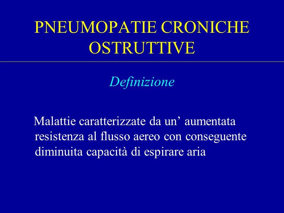 PNEUMOPATIE CRONICHE OSTRUTTIVE Definizione Malattie caratterizzate da un aumentata resistenza al flusso aereo con conseguente diminuita capacità di e