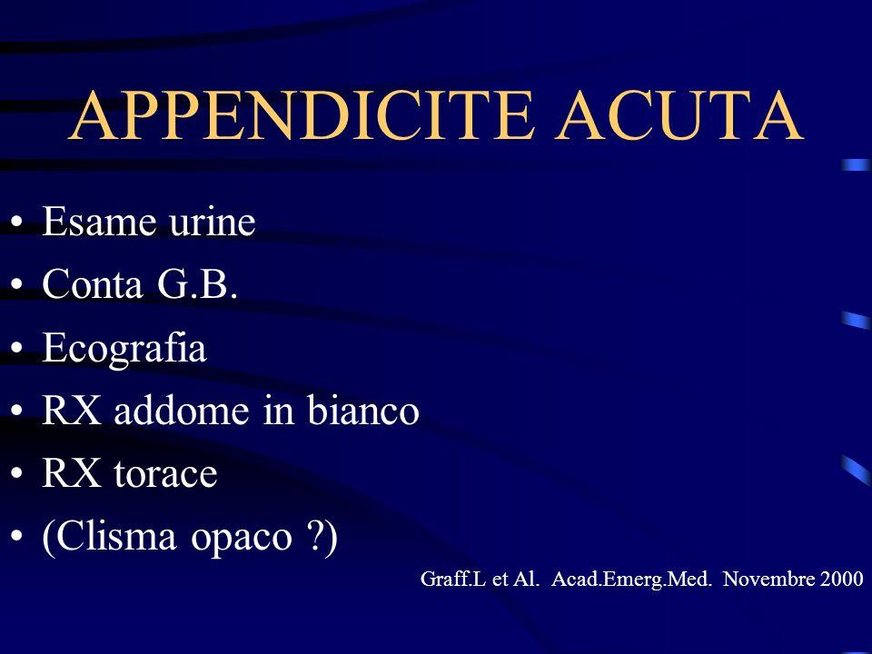 APPENDICITE ACUTA Esame urine Conta G.B. Ecografia RX addome in bianco RX torace (Clisma opaco ?) Graff.L et Al. Acad.Emerg.Med. Novembre 2000