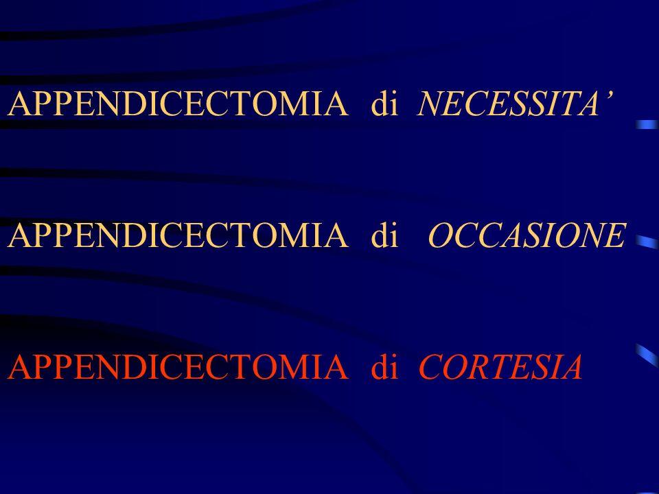 APPENDICECTOMIA di NECESSITA APPENDICECTOMIA di OCCASIONE APPENDICECTOMIA di CORTESIA