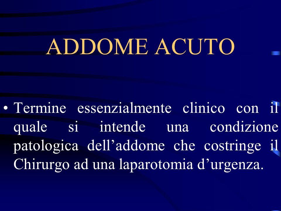 ADDOME ACUTO Termine essenzialmente clinico con il quale si intende una condizione patologica delladdome che costringe il Chirurgo ad una laparotomia