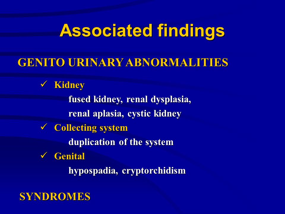 Associated findings Kidney Kidney fused kidney, renal dysplasia, renal aplasia, cystic kidney Collecting system Collecting system duplication of the s