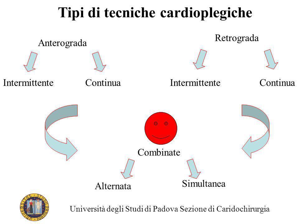 Tipi di tecniche cardioplegiche Anterograda Retrograda IntermittenteContinua Intermittente Combinate Alternata Simultanea Università degli Studi di Pa
