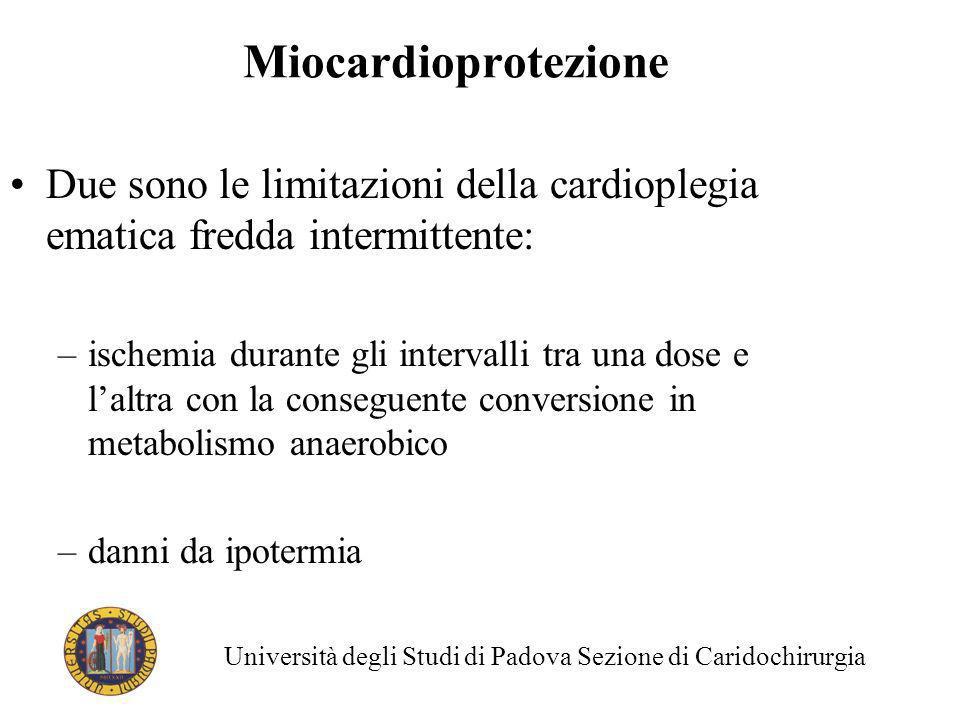 Due sono le limitazioni della cardioplegia ematica fredda intermittente: –ischemia durante gli intervalli tra una dose e laltra con la conseguente con