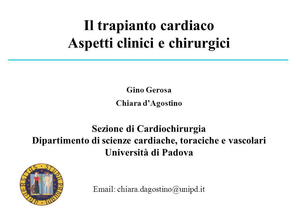 Il trapianto cardiaco Aspetti clinici e chirurgici Gino Gerosa Chiara dAgostino Sezione di Cardiochirurgia Dipartimento di scienze cardiache, toracich