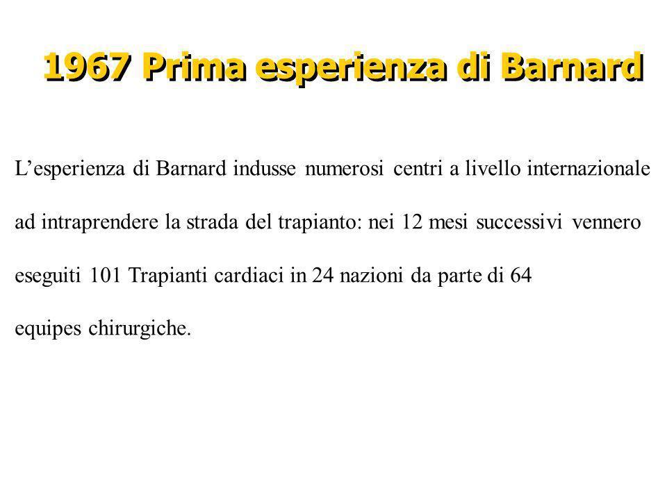 1967 Prima esperienza di Barnard Lesperienza di Barnard indusse numerosi centri a livello internazionale ad intraprendere la strada del trapianto: nei