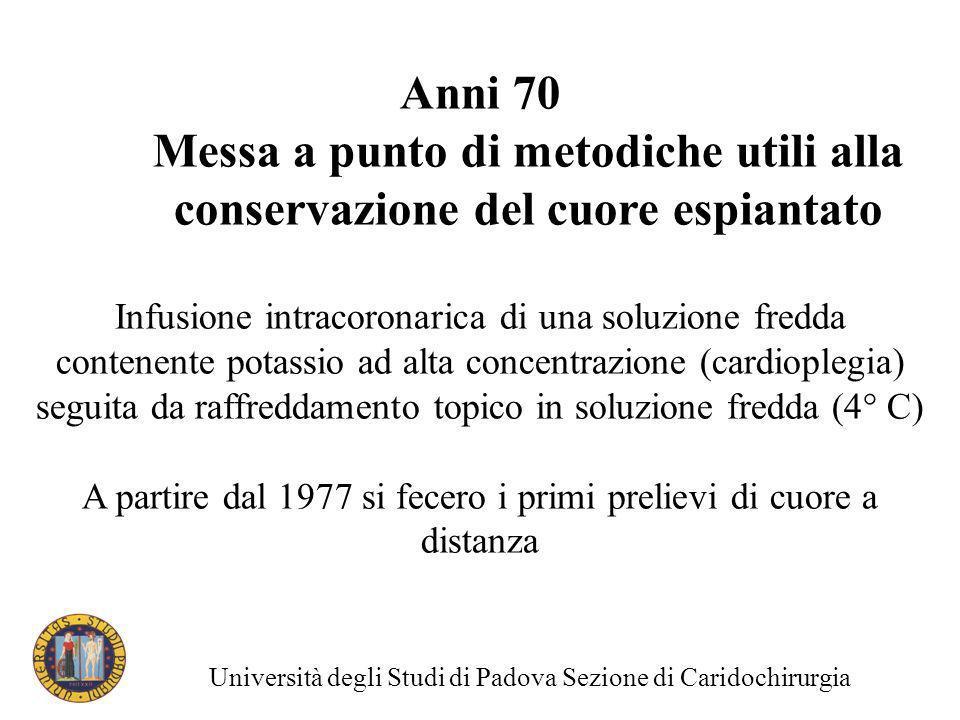 Anni 70 Messa a punto di metodiche utili alla conservazione del cuore espiantato Infusione intracoronarica di una soluzione fredda contenente potassio