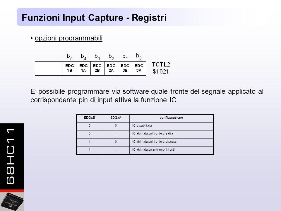 Funzioni Input Capture - Registri opzioni programmabili E possibile programmare via software quale fronte del segnale applicato al corrispondente pin di input attiva la funzione IC EDGxBEDGxAconfigurazione 00IC disabilitata 01IC abilitata sul fronte di salita 10IC abilitata sul fronte di discesa 11IC abilitata su entrambi i fronti