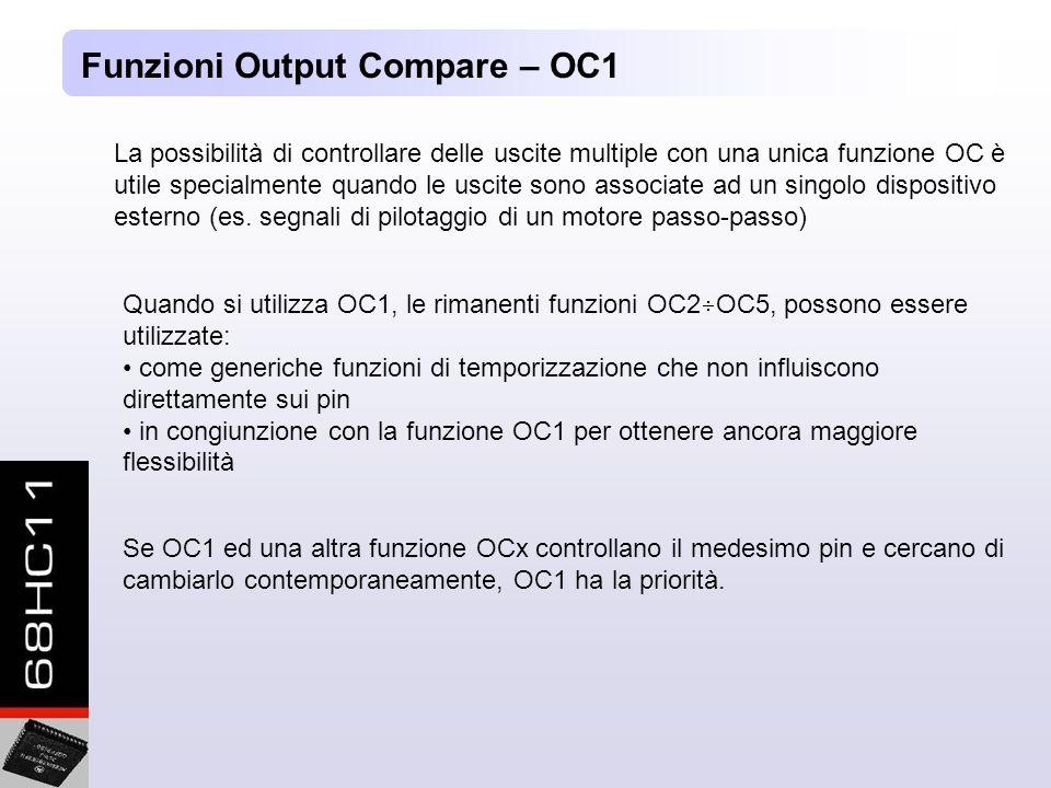 Funzioni Output Compare – OC1 La possibilità di controllare delle uscite multiple con una unica funzione OC è utile specialmente quando le uscite sono associate ad un singolo dispositivo esterno (es.