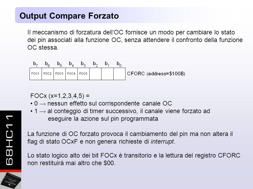 Output Compare Forzato Il meccanismo di forzatura dellOC fornisce un modo per cambiare lo stato dei pin associati alla funzione OC, senza attendere il confronto della funzione OC stessa.