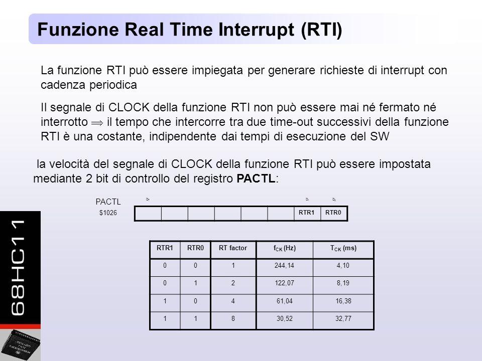 Funzione Real Time Interrupt (RTI) La funzione RTI può essere impiegata per generare richieste di interrupt con cadenza periodica Il segnale di CLOCK della funzione RTI non può essere mai né fermato né interrotto il tempo che intercorre tra due time-out successivi della funzione RTI è una costante, indipendente dai tempi di esecuzione del SW la velocità del segnale di CLOCK della funzione RTI può essere impostata mediante 2 bit di controllo del registro PACTL: PACTL b7b7 b1b1 b0b0 $1026 RTR1RTR0 RTR1RTR0RT factorf CK (Hz)T CK (ms) 001244,144,10 012122,078,19 10461,0416,38 11830,5232,77