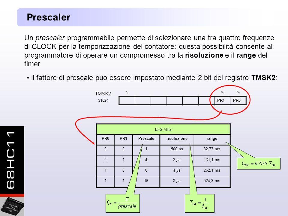 Un prescaler programmabile permette di selezionare una tra quattro frequenze di CLOCK per la temporizzazione del contatore: questa possibilità consente al programmatore di operare un compromesso tra la risoluzione e il range del timer Prescaler il fattore di prescale può essere impostato mediante 2 bit del registro TMSK2: TMSK2 b7b7 b1b1 b0b0 $1024PR1PR0 E=2 MHz PR0PR1Prescalerisoluzionerange 001500 ns32,77 ms 014 2 s 131,1 ms 108 4 s 262,1 ms 1116 8 s 524,3 ms