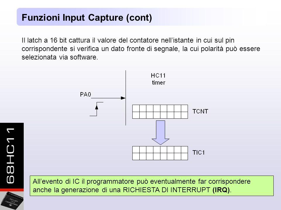 Il latch a 16 bit cattura il valore del contatore nellistante in cui sul pin corrispondente si verifica un dato fronte di segnale, la cui polarità può essere selezionata via software.