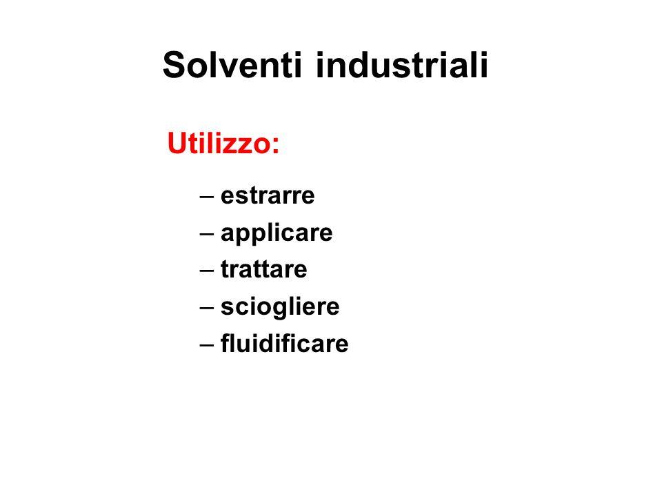 Solventi industriali Utilizzo: –estrarre –applicare –trattare –sciogliere –fluidificare